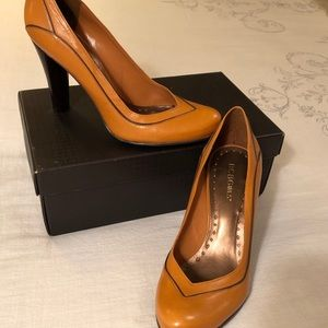 BCBG Round Toe, Tan with Brown accent Ladies Pumps